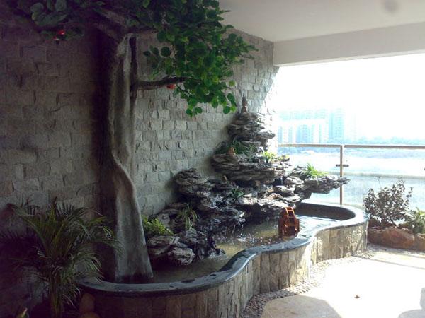花园假山鱼池效果图 室内假山设计